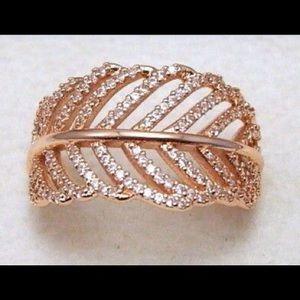 Pandora rose gold light as feather ring size 9